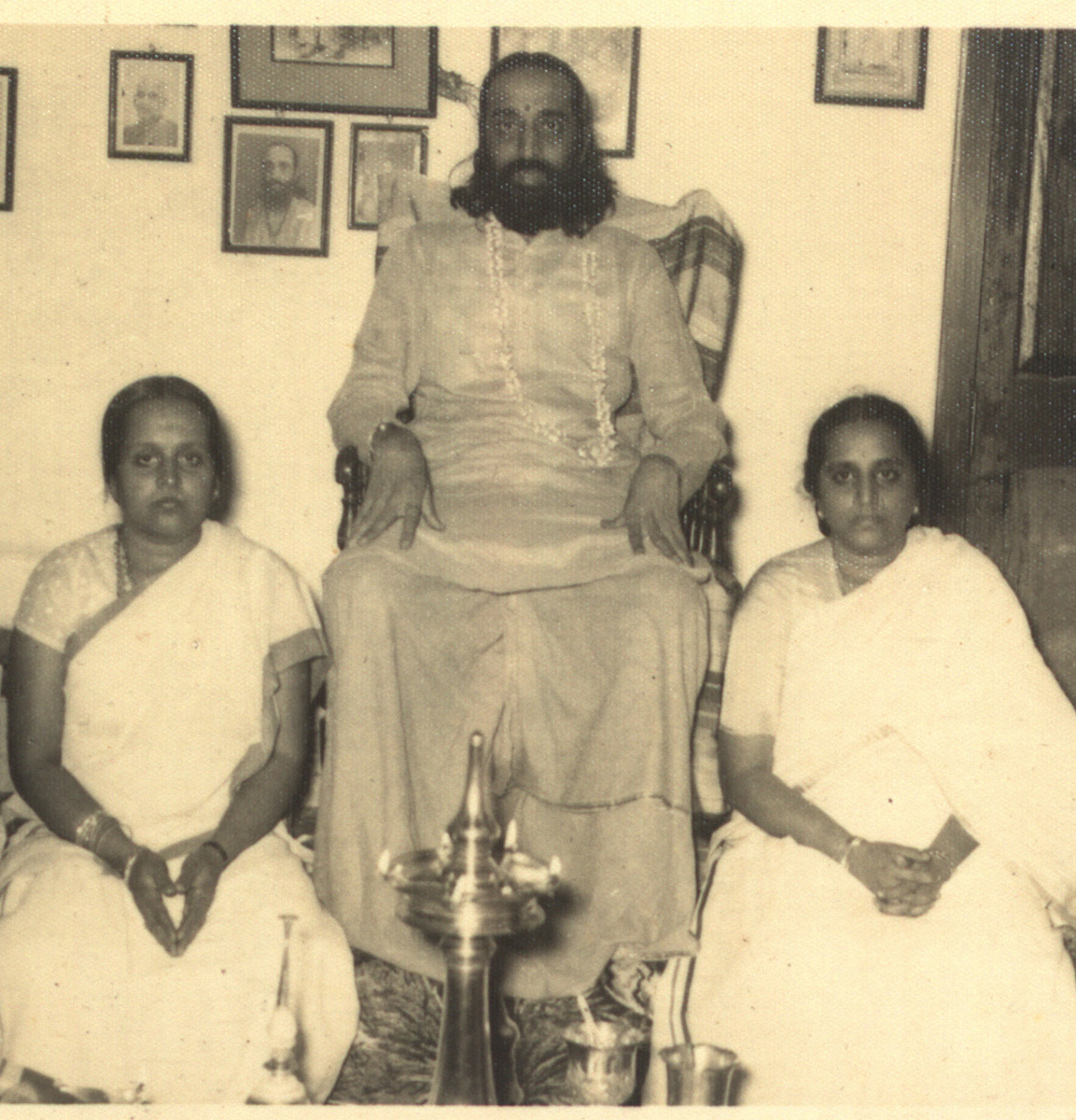 Swami Chinmayananda with his sisters